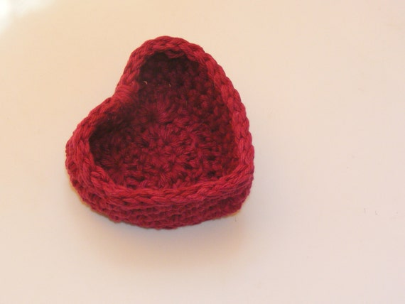 Custom Order 5 Cotton Heart Baskets in Deep Red