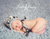 Laetitia-Lovely Grey Vintage Bonnet- Professional Newborn Photography Prop