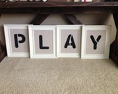 PLAY painted rustic sign for kids room playroom art room wall decor shabby chic