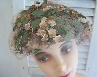 Vintage Ladies Hat, Womans Hat, Floral Antique Hat, Spring Hat