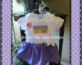 Easter Bunny  Dress with Sweet Little Bunnies and Bows - Headband Included - 6 to 24 Months