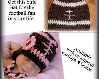 Football hat - any size - any color - with or without earflaps and braids, baby, child, adult, newborn, preemie, 0-3 months, 3-6 months