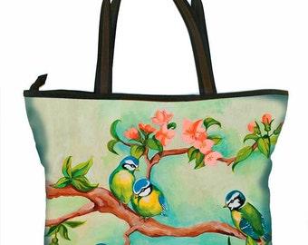 Large Handbag, Birdgirl, colourful, print, green, yellow, retro