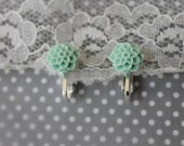 sweet and dainty chrysanthemum clip-on (or pierced) earrings (mint green)