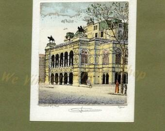 Artist von gerhard hummel etching wein-oper signed
