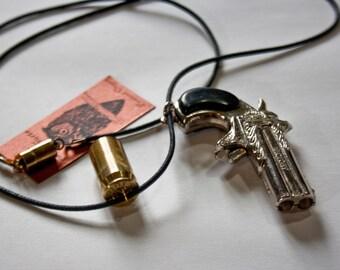 1970s Vintage Die Cast Silver Pirate Cap Gun Replica with Bullet Charm