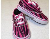 Swarovski Crystal Hot Pink Zebra Glitter Toddler Vans Shoes