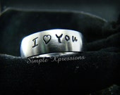 Hand Stamped Ring - Silver Stainless Steel Ring - Comfort Fit 6mm Matte Ring with Name on It