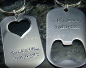 His & Hers Keychains - Stainless Steel Bottle Opener and Heart Keychain