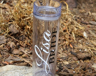 SALE, 1 Skinny Personalized Bridesmaid Tumblers - Wedding Party Acrylic Tall Tumblers - Set of ONE