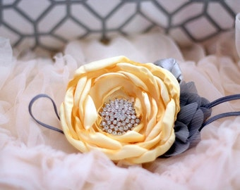baby headband...baby headband..baby girl headband...yellow and gray headband..newborn headband..girl headband..photography prop