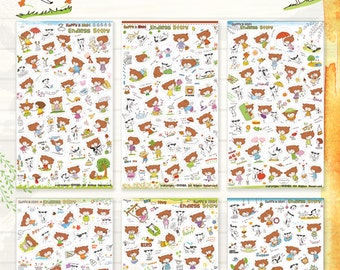 50% SALE Happy and Nuri Endless story Sticker 6sheets/1set