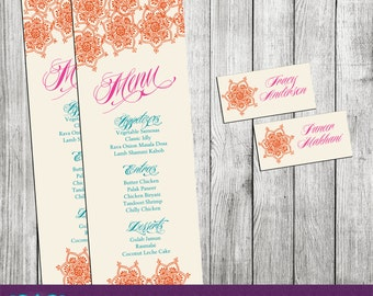 Bollywood or Middle Eastern Inspired Menu and Placecard/Tag - PRINTABLE