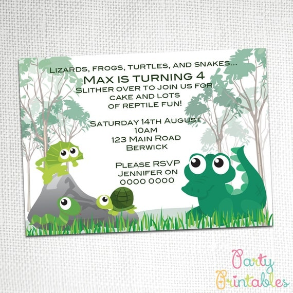 Reptile Party Invitation By Party Printables