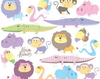 Cute Animal Clipart African Safari Animals Clip Art Baby Shower Pastel Wild Crocodile Monkey Hippo Snake Lion Toucan Illustrations 10487