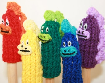 Five Dinosaur Finger Puppets.