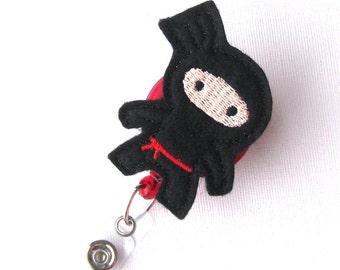 Black Ninja - Felt Badge Holder - Cute Badge Reels - Unique Retractable ID Badge Clips - Name Badge Pulls - Peds RN Badge - BadgeBlooms