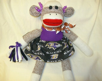 Baltimore Ravens Football Brown Red Heel Sock Monkey Girl Doll