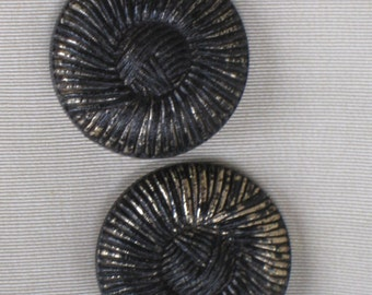 "Pair of Jumbo Faux Fabric Design Black & Gold Buttons - Metallicized Plastic - 1-9/16"" diameter - Vintage Antique Supplies"