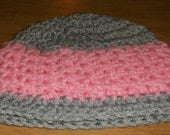 infant 3 to 6 months pink and gray hat beanie photo prop