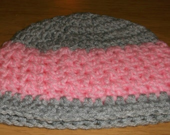 3 to 6 months girls pink and gray hat beanie photo prop