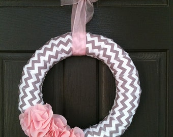 Gray and White Chevron Wreath with Pink Ruffles