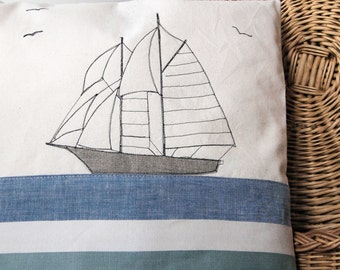 Nautical Style Freehand Embroidered Cushion / Pillow with Sailing Ship Applique