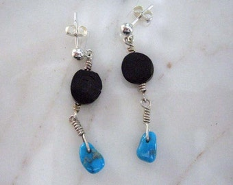 Sterling Silver Black Coral AZ Turquoise wire wrapped drop Earrings