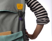 big laptop backpack in grey and mint with crochet mustard buckles , color block backpack . gray mint yellow school backpack college bag