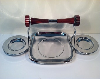 Vintage Chrome and Bakelite Hors D'oeuvres Serving Dish.