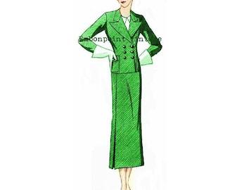 Plus Size (or any size) 1934 Vintage Suit Ensemble Sewing Pattern - PDF - Pattern No 75 Pearlie