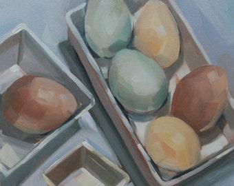 Half Dozen Eggs, Kitchen Art, Original Oil Painting, 6 x 6 inches, free domestic shipping