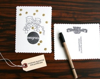 Set of 2 Handmade Postcard (Blank) Congrats Owls Dots Gold Glitter Confetti