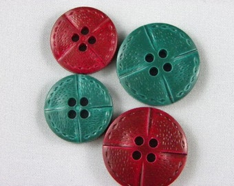 Vintage Buttons - Variety, red and green - Lot of 24