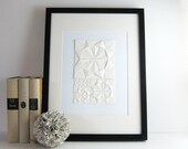 Origami Sketch No2 Ivory Paper Collage - Original Art - Modern Art - Neutral Home Decor - Paper Anniversary Minimalist Art Geometric Circles