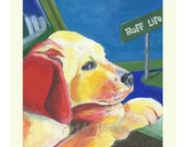 Ruff Life - English Labrador Puppy - 8x10 Art Print from original art  - Pet Paintings - Dog Art -TAGT
