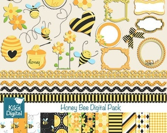 Honey Bee Digital Clipart and Paper Combo- Scrapbooking , card design, invitations, stickers, paper crafts, web design - INSTANT DOWNLOAD
