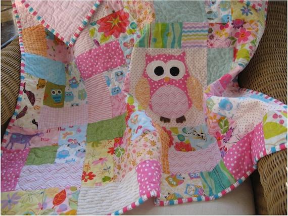Handmade Scrappy Owl Quilt Pink Baby Girll Quilt Owl Nursery