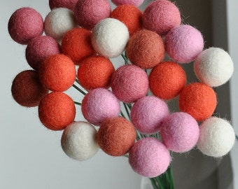Wool craspedia, Strawberry&Cream set