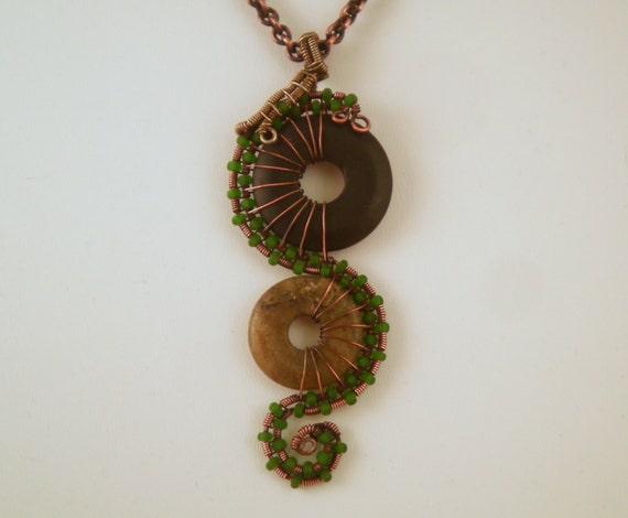 Seahorse-Inspired Copper Pendant - Black Agate, Laboradite, Copper