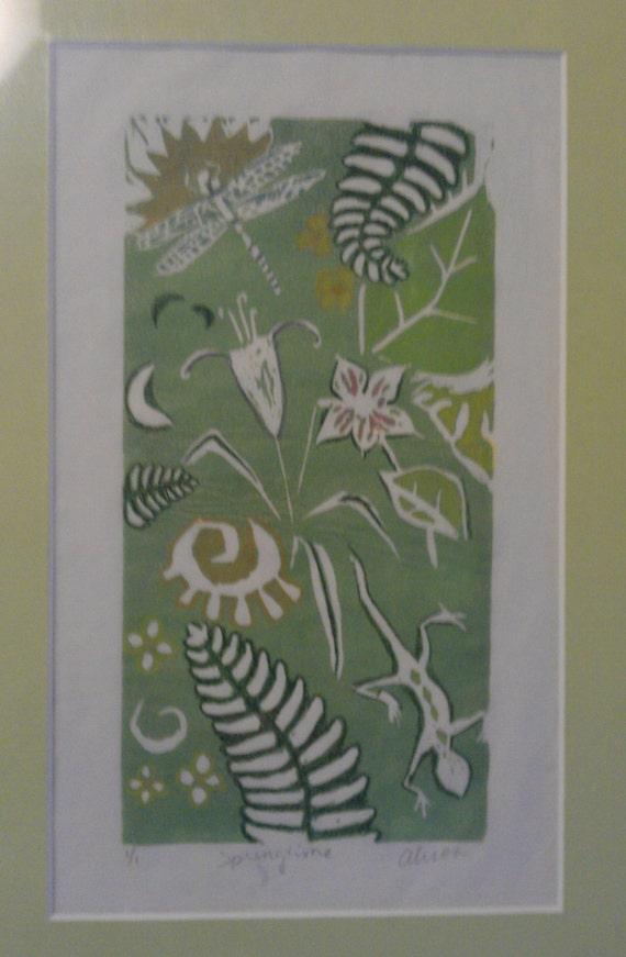 Springtime 4 x 8 original linocut