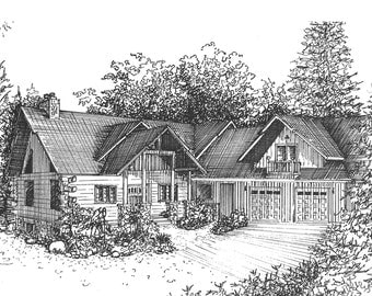 Custom house portrait , vacation home drawing, architectural sketch of your special place, architectural illustration