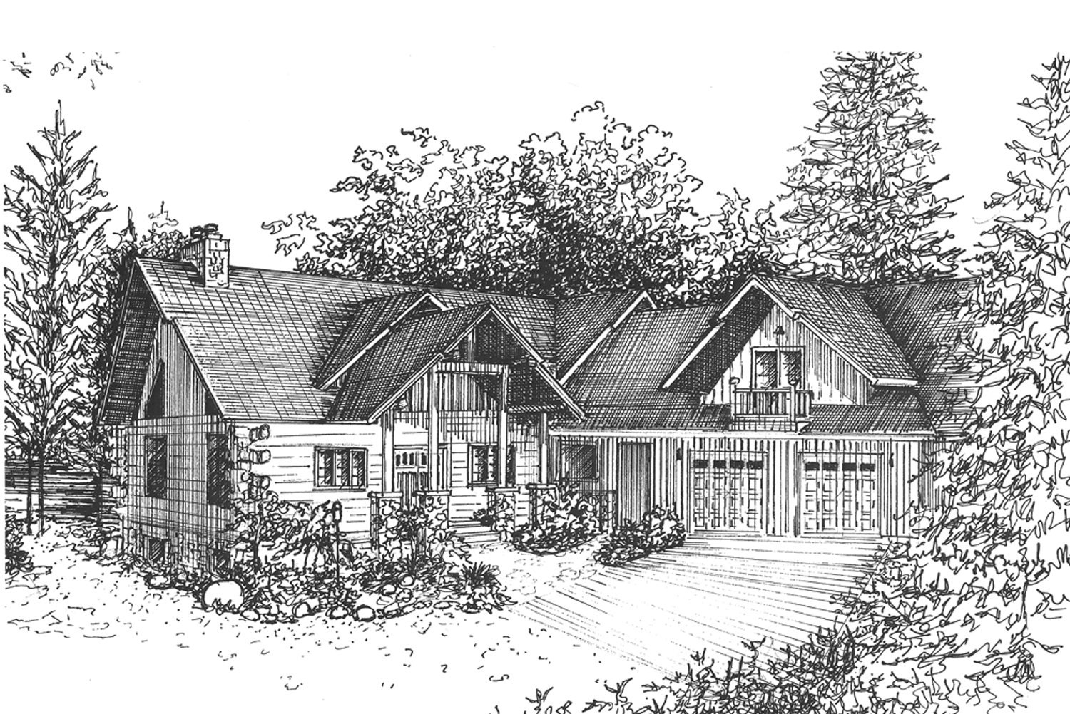 custom house portrait vacation home drawing architectural zoom