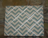 16x20 French Memo Board - Spa Blue Chevron with White Ribbon - Unframed