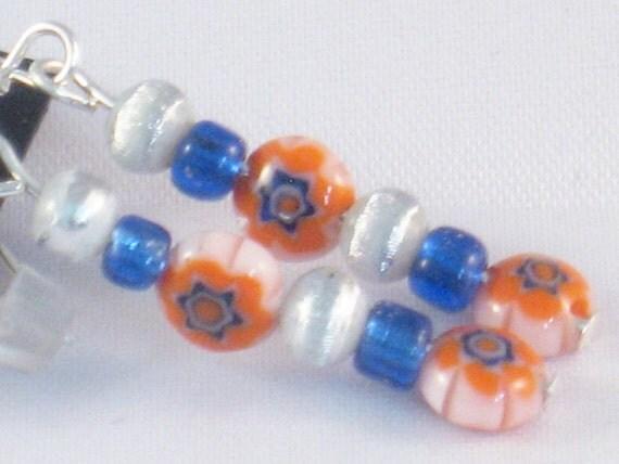 Dangling, Beaded Earrings in Orange, Blue and Silver