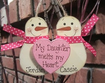 Personalized Snowmen Couple Ornament - My Daughter melts my Heart