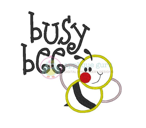 Busy bee applique machine embroidery design by appliqueguru