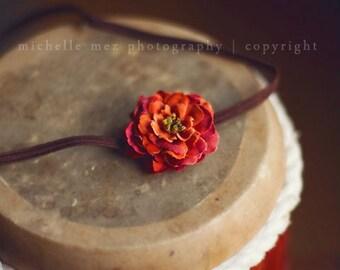 Newborn headband - Orange flower headband - Baby headband - Photo prop