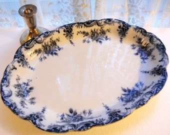 Antique Victorian English Cottage Staffordshire 1880's Serving Platter Flow Blue Roses Floral White Ironstone Porcelain Scalloped Oval Dish