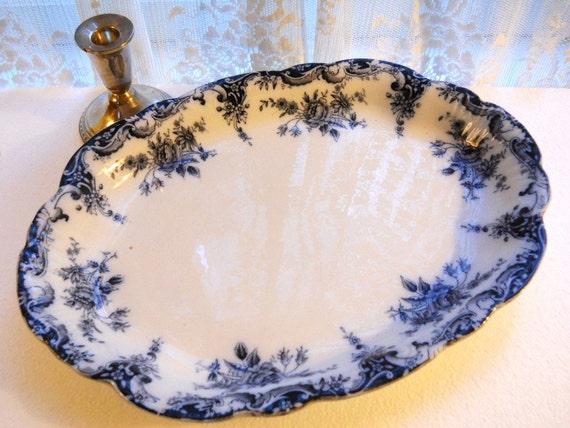 Antique Staffordshire 1880's England Flow Blue Roses Floral Ironstone Porcelain Scalloped Oval Platter